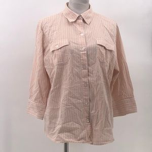 Chico's 3 button up striped top US XL